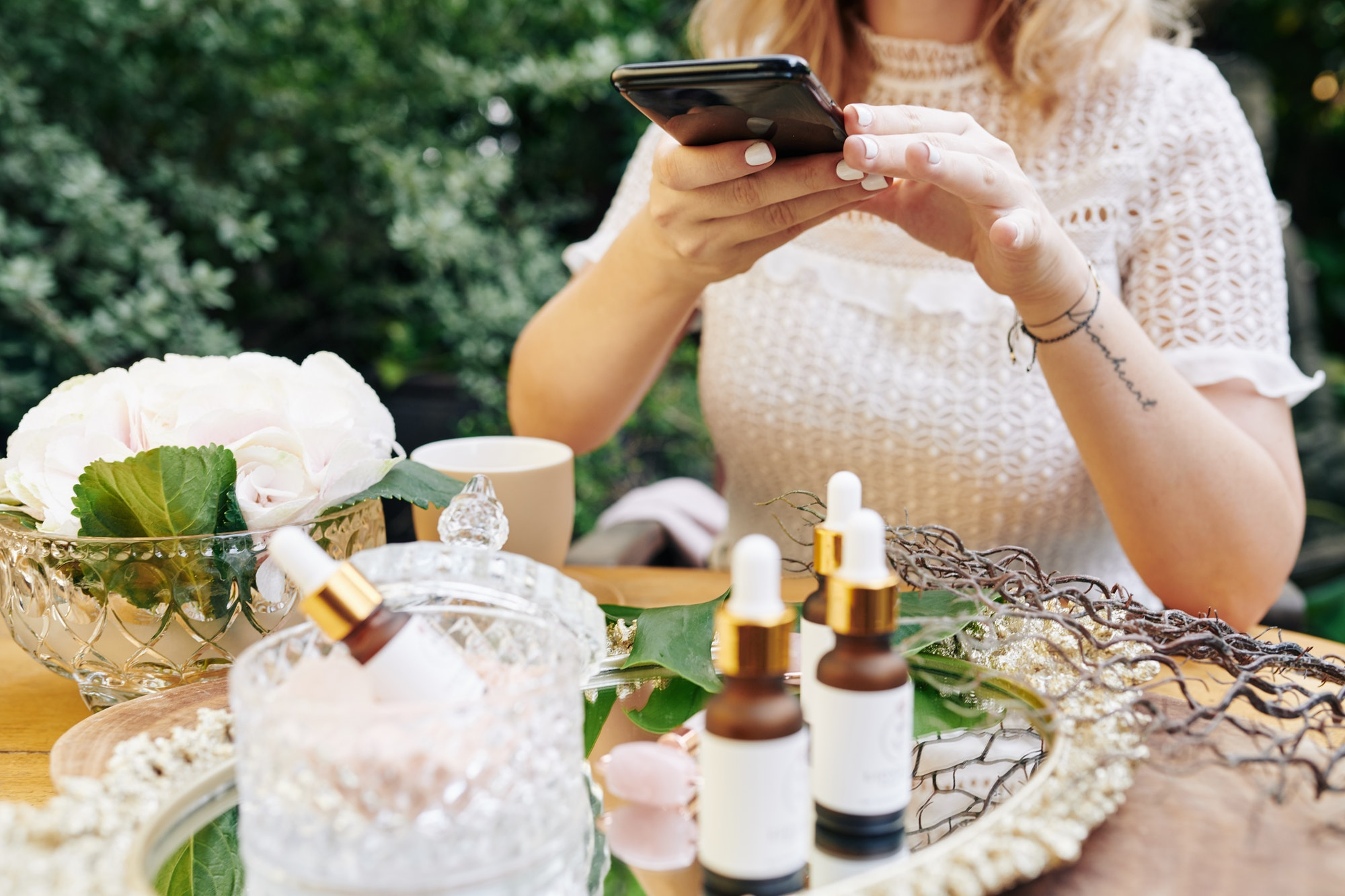 Brand owner photographing new cosmetics